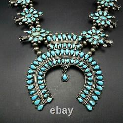 1940s Vintage NAVAJO Sterling Silver TURQUOISE CLUSTER Squash Blossom NECKLACE
