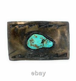 1960's Old Pawn Vintage Navajo Sterling Silver Turquoise Belt Buckle