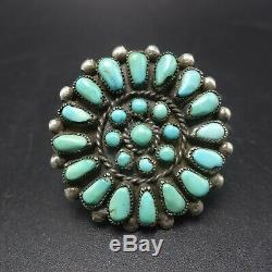 1960s Vintage NAVAJO Sterling Silver TURQUOISE Petit Point Cluster RING size 7