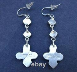 2 Long Vintage NAVAJO Sterling Silver TURQUOISE Cluster Dangle EARRINGS Pierced