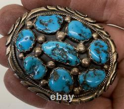 2 Vintage Navajo Tommy Moore Turquoise & Sterling Silver 30G 1 Belt Buckle