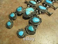 25 SPLENDID Vintage Navajo Sterling Silver Turquoise SQUASH BLOSSOM Necklace