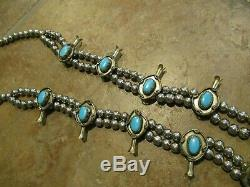 26 FINE Vintage Navajo Sterling Silver Blue Turquoise SQUASH BLOSSOM Necklace