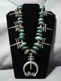 320 Grams Vintage Navajo Sterling Silver Cross Turquoise Squash Blossom Necklace