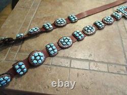 49 OLDER Vintage Navajo JE Sterling Silver Turquoise Cluster CONCHO BELT
