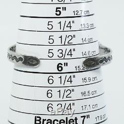 6, Vtg Navajo Native American Handmade Turquoise Sterling 925 Cuff Bracelet