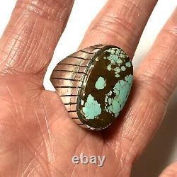 #8 Spiderweb Turquoise Mens Ring Sz 12 Navajo Sterling Signed 20g Vtg
