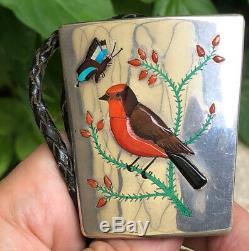 A+ Vintage HL NAVAJO ZUNI Sterling Coral & Shell Inlay Bird BOLO TIE