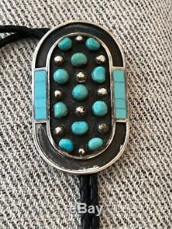 A+ Vintage Signed Jobeth Mayes Native American Zuni Turquoise & Silver Bolo Tie