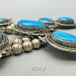 A Vintage Squash Blossom Necklace With Amazing Bright Blue Turquoise