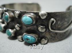 Amazing Cerrillos Morenci Turquoise Vintage Navajo Sterling Silver Bracelet Old