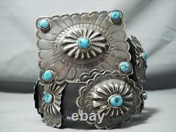 Amazing Vintage Navajo Old Kingman Turquoise Sterling Silver Concho Belt Old