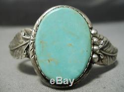 Amazing Vintage Navajo Royston Turquoise Sterling Silver Leaf Bracelet Old