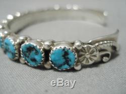 Amazing Vintage Navajo Turquoise Sterling Silver Native American Bracelet