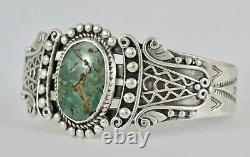 Antique Vintage Fred Harvey Era Sterling Silver Green Turquoise Cuff Bracelet