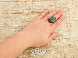 Antique Vintage Sterling 925 Silver Native Navajo Number 8 Turquoise Ring S 7.25