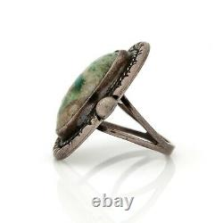 Antique Vintage Sterling 925 Silver Native Navajo Pawn Turquoise Band Ring S 6.5