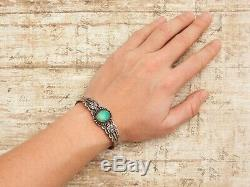 Antique Vintage Sterling Coin Silver Native Navajo Pawn Turquoise Cuff Bracelet