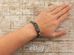 Antique Vintage Sterling Silver Native Navajo Green Turquoise Row Cuff Bracelet