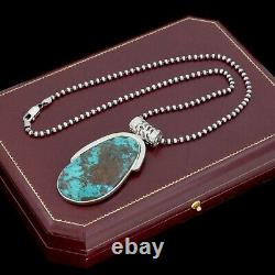 Antique Vintage Sterling Silver Native Navajo Turquoise Beaded Necklace 43.1g