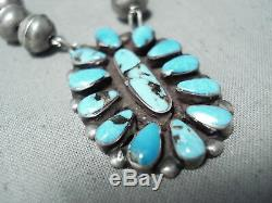 Astonishing Vintage Navajo Blue Diamond Turquoise Sterling Silver Necklace Old