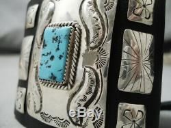 Astonishing Vintage Navajo Repoussed Turquoise Sterling Silver Ketoh Bracelet