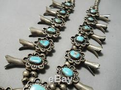 Authentic Vintage Navajo Huge Turquoise Sterling Silver Squash Blossom Necklace