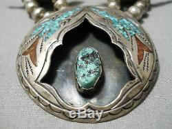 Authentic Vintage Navajo Turquoise Coral Sterling Silver Squash Blossom Necklace