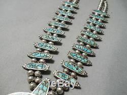 Authentic Vintage Navajo Turquoise Inlay Sterling Silver Squash Blossom Necklace