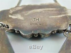 BIG 4 3/4 Old Vintage NAVAJO JH Necklace Pendant Sterling & Blue Turquoise