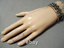 Beautiful Vintage Navajo Snake Eyes Coral Turquoise Sterling Silver Bracelet Old