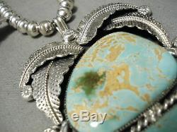 Best Vintage Navajo #8 Turquoise Sterling Silver Squash Blossom Necklace