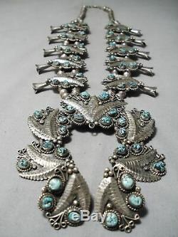 Best Vintage Navajo Leaf Sterling Silver Turquoise Squash Blossom Necklace Set