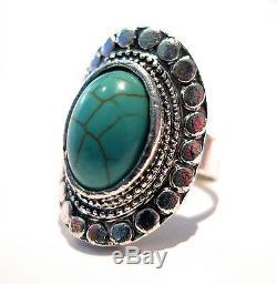Bohemian Turquoise Stone Navajo Ring-Vintage Silver Jewellery Boho Hippy Gypsy