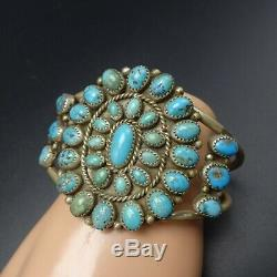CLASSIC 1960s Vintage NAVAJO Sterling Silver TURQUOISE Cluster Cuff BRACELET 51g