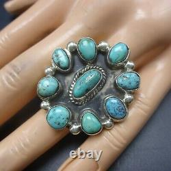 CLASSIC Vintage NAVAJO Sterling Silver TURQUOISE Cluster RING size 8