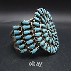 CLASSIC Vintage ZUNI Sterling Silver TURQUOISE Petit Point Cluster Cuff BRACELET