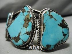 Chunky Huge Vintage Navajo Old Morenci Turquoise Sterling Silver Webbed Bracelet