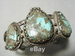 Chunky Very Old 1900's Vintage Navajo Turquoise Sterling Silver Bracelet