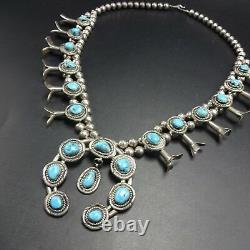 Classic Vintage NAVAJO Sterling Silver & Turquoise SQUASH BLOSSOM Necklace 143g