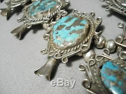Crazy Huge Vintage Navajo Turquoise Sterling Silver Squash Blossom Necklace Old