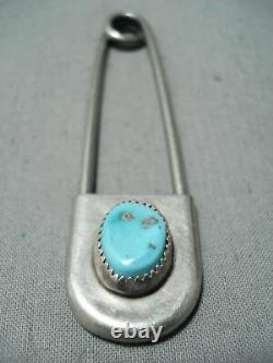 Custom Vintage Navajo Old Kingman Turquoise Sterling Silver Keychain Safety Pin