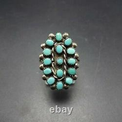 Delicate Vintage NAVAJO Sterling Silver TURQUOISE Petit Point RING size 7.5