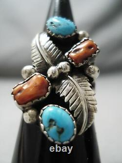 Detailed Vintage Navajo Turquoise Coral Sterling Silver Leaf Ring Old