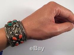 E. TSOSIE Vintage Navajo Indian Sterling Silver Turquoise Coral Bracelet Cuff