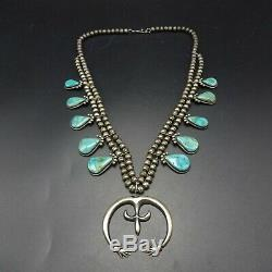 ELEGANT Vintage NAVAJO Sterling Silver and Turquoise SQUASH BLOSSOM Necklace