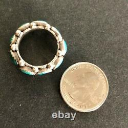 ENGAGING Vintage NAVAJO Sterling Silver TURQUOISE Cluster RING Band size 8
