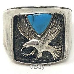 Eagle Turquoise Ring Mens 1970s Sterling Silver Signed Ted OTT Sz 12.5 11g Vtg