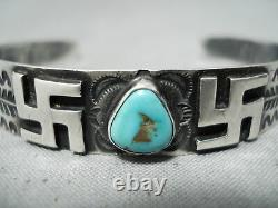 Early 1900's Vintage Navajo Whirling Logs Turquoise Sterling Silver Bracelet