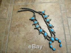 Excellent Vintage Navajo Sterling Silver Turquoise SQUASH BLOSSOM Necklace